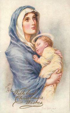 Madonna in violet with sleeping child