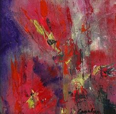 """Daily Painters Abstract Gallery: Acrylic Abstract Flower Art Painting """"Poppies"""" by Contemporary Artist Lee Canalizo"""