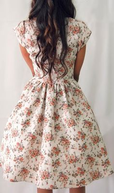 50s Floral Cap-Sleeve Dress.