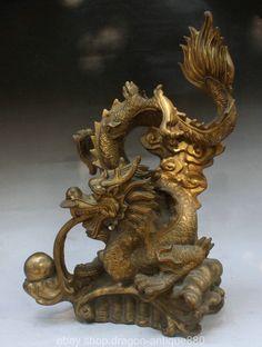47cm Chinese Brass Feng Shui Zodiac Fly Dragon Ball fortune Lucky Sculpture | eBay