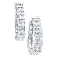 10k White Gold 1.00Ctw Diamond Ladies Hoop Earrings
