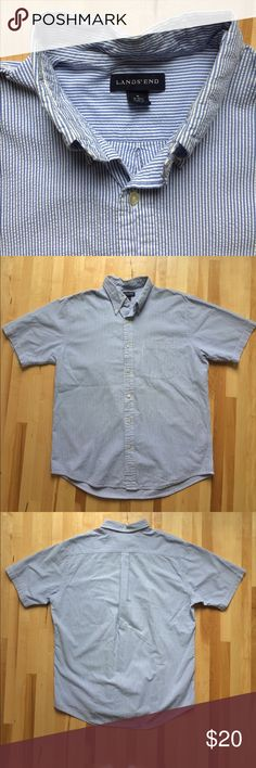 Lands End Seersucker Men's Button Down Shirt SS Super classic men's blue and white seersucker shirt by Land's End. Size Medium 15-15 1/2. Excellent condition. Lands' End Shirts Casual Button Down Shirts
