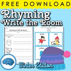 Free Rhyming Write the Room Winter Edition