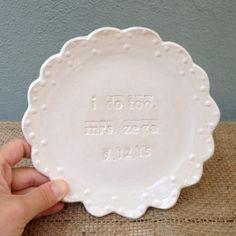 i do Plates Wedding Cake Plate Wedding Gift by jclayPottery, $42.00