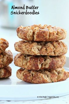 These Vegan Almond Butter Snickerdoodles are lighter, packed with cinnamon and perfect for the holidays. palm oil free and soy-free. Brownie Desserts, Oreo Dessert, Coconut Dessert, Vegan Desserts, Vegan Recipes, Protein Recipes, Protein Foods, High Protein, Vegan Treats