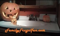Decorate your bathroom this Halloween with a jack o lantern throwing up.  It'll give 'em a scare when guests walk in & see this! ☺