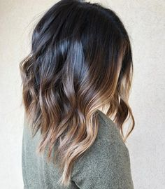 Long black and bronde balayage lob short ombre, ombre hair, hair color, lon Ombre Hair Color, Hair Color Balayage, Hair Highlights, Caramel Highlights, Bronde Balayage, Long Bob Balayage, Lob Balyage, Hair Colors, Partial Balayage Brunettes