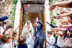 Confetti tossing! Wedding ate the Varò church in Taormina. Marvelous wedding in Italy.
