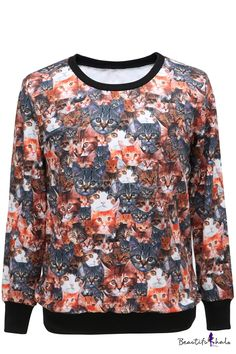 $15.01 Cat Head Print Round Neck Long Sleeve Sweatshirt