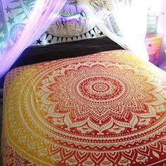 Ombre Mandala Bohemian Tapestry Queen Size Hippie Wall Hanging Home Decor - Free Shipping - Fabric: 100% Cotton Fabric, Screen Printed Design.. - queen size 90 x 90 inch - Makes a great wall hanging,