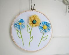 Hand Stitched Embroidery in 8 inch hoop Shabby Chic Fabric Flowers Rustic Cottage Chic
