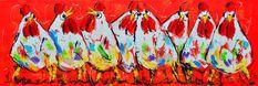 Dit is een: Acrylverf op doek, titel: 'Hobbykippen' kunstwerk vervaardigd door: Liz