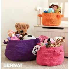 Stay organised with these clutter catcher baskets from Bernat! These stylish containers are great for turning mess into magical pops of colour. They're easy to crochet using the Bernat… Crochet Shawl, Crochet Yarn, Crochet Toys, Free Crochet, Crochet Rabbit, Chunky Crochet, Crochet Basket Pattern, Easy Crochet Patterns, Crochet Baskets