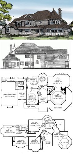 Queen Anne House Plan with 4008 Square Feet and 5 Bedrooms from Dream Home Source | House Plan Code DHSW32313 Love this one. Make the upstairs rec room a 5th bed, make downstairs bed an office, add finished basement with craftroom,, playroom, theater and 1/2 bath