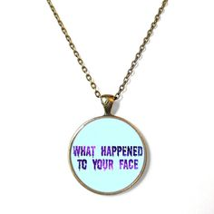Pastel Goth Drippy What happened to your face. Spooky Cute Black Necklace - Pop Culture Jewelry - Funny Soft Grunge Pendant