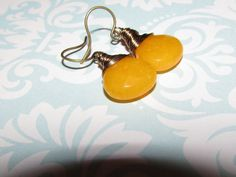 2015 Fall Colors:Yellow Jade Faceted Flat Briolette Brass by AStyleEveryday on Etsy