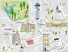 Illustrated Location Map, London, Fitzrovia, Broadcasting House, BT Tower, British Museum, The Langham, Oliver Burns Design