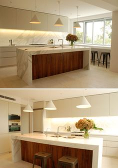 Love how the timber warms up a white kitchen. Home Decor Kitchen, New Kitchen, Home Kitchens, Kitchen Dining, Kitchen Island Bench, Kitchen Benches, Modern Kitchen Design, Interior Design Kitchen, Modernisme
