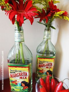 Great idea! Use Tequila bottles as vases for your Cinco de Mayo Party