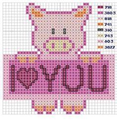 """Cross-stitch Piggy """"I Love You""""...    Punto De Cruz: Punto De Cruz - Cerdito Con Mensaje"""