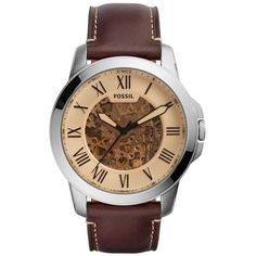 Fossil Brown Mens Grant Chronograph Dark Brown Leather Watch (19380 RSD) ❤ liked on Polyvore featuring men's fashion, men's jewelry, men's watches, brown, mens brown leather watches, mens watches jewelry, mens leather watches, mens watches and fossil mens watches