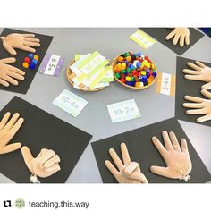 Today I added this subtraction activity into our literacy rotations. I know it's maths, I'm clearly living life on the wild side. Montessori Math, Preschool Curriculum, Preschool Learning, Kindergarten Math, Teaching Math, Preschool Activities, Maths Eyfs, Numeracy, Math Subtraction