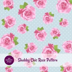 Pink Roses Shabby Chic Seamless Vector Pattern - http://www.dawnbrushes.com/pink-roses-shabby-chic-seamless-vector-pattern/