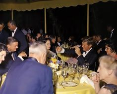 "twitter/ ""BeschlossDC: Here JFK at state dinner on Mt Vernon lawn for Pakistan President Ayub Khan, July 1961 (Lady Bird & FDR Jr at left)"""
