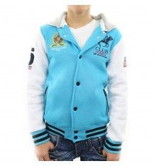 Sweat Teddy Enfant - Geographical Norway - All Good Boy - unisexe - Turquoise / Blanc