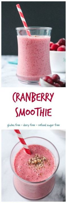 Cranberry Smoothie - a delicious, sweet, tart, and gorgeously vibrant, seasonal sip. Can use fresh or frozen cranberries, or even leftover cranberry sauce. Vegan, gluten free, dairy free, and refined sugar free. Delicious for breakfast, snack, or even dessert! #smoothie #cranberries #dairyfree #christmas #winter #sugarfree #vegan #seasonal via @veggieinspired