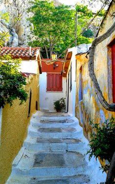 Anafiotika, Athens, Greece Athens, Greece, Patio, Outdoor Decor, Home Decor, Greece Country, Decoration Home, Terrace, Room Decor