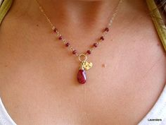 Ruby  Necklace  July  Birthstone Jewelry  Heart  by lavenders, $72.00