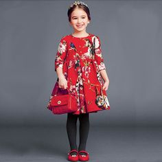 2014 Christmas Dress Baby Girl dresses Kids Girls Clothes with Animal Print A line Three Quarters Sleeve Dobby Dress for Girl-in Dresses from Mother & Kids on Aliexpress.com | Alibaba Group