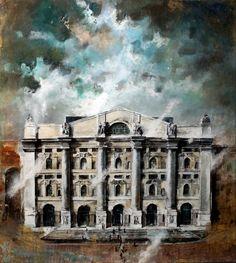 dipinto su Milano di Santosuosso -borsa di milano - palazzo mezzanotte
