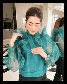 Frocks, Pakistani, Ruffle Blouse, Fashion Outfits, Traditional, Beauty, Tops, Women, Style