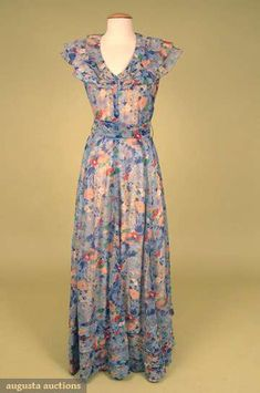 Augusta Auctions, May 2008 Vintage Fashion & Antique Textile Sale, Lot 714: Floral Printed Summer Gown, Late 1930s