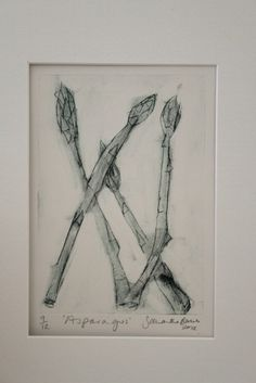 'Asparagus' Vegetable Drawing, Kitchen Art, Botany, Archive, Watercolor, Abstract, Sewing, Drawings, Illustration