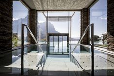 """escapekit: """"Valentinerhof hotel German studio Noa* has designed a stunning hotel located in Kastelruth village, near Dolomities in Italy. The Valentinerhof hotel is the perfect place to take a breathe. Organic Architecture, Interior Architecture, Interior And Exterior, Spas, Wooden Facade, Villa, Hotel Interiors, Porch Swing, Perfect Place"""