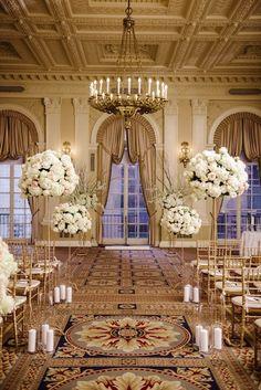 photo: Brian Hatton; classic and glamorous ballroom wedding ceremony;