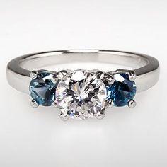 Diamond & Montana Sapphire Three Stone Engagement Ring Platinum