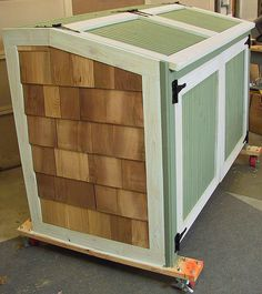 Garbage Can Storage Shed Opens from top & front. Wheels for mobility