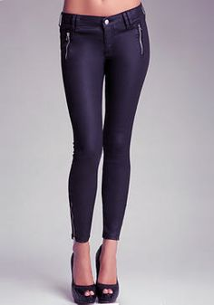 bebe Coated Zipper Skinny Jeans