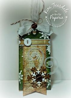 Grungy Snowy Days Christmas Tag...with snowflakes...by Eclectic Paperie.
