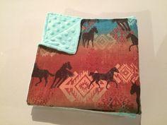 Handmade western horse baby blanket. Navajo print baby blanket. Teal minky baby bedding. Cowboy or Cowgirl nursery bedding. Great baby shower gift.   https://www.etsy.com/ca/listing/387584288/western-baby-blanket-horse-baby-blanket