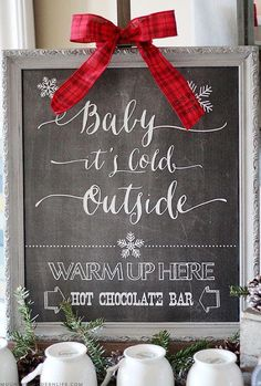 "I definitely want a hot chocolate bar at my wedding! 😊 FREE Hot Chocolate Bar Chalkboard Printable - ""Baby It's Cold Outside"" Hot Chocolate, Hot Cocoa or Hot Beverage Bar Station for weddings or holiday parties Winter Christmas, Christmas Time, Diy Christmas Wedding, Christmas Wedding Invitations, Christmas Sayings, Christmas Ornaments, Winter Wedding Inspiration, Winter Wedding Ideas, Winter Wedding Decorations"