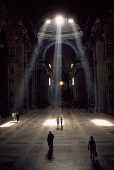 3 shafts of sunlight illuminate the Basilica & its mosaic floor in the Vatican, Rome, Italy (Albert Moldvay, National Geographic, Dec Visit Rome, Vatican City, The Vatican, Kirchen, National Geographic Photos, National Geographic Photography, Art And Architecture, Renaissance Architecture, Amazing Architecture