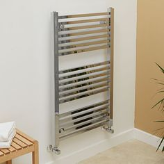 1000 x 600 Beta Heat Square Chrome Heated Towel Rail  - Stainless Steel Bathroom Radiators - Better Bathrooms