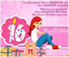 Birthday My Daughter Poems 16th Card Sweet 16