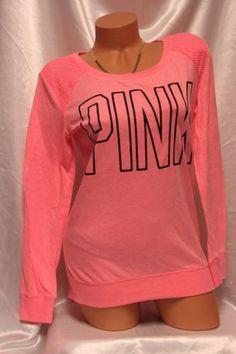 Victoria's Secret PINK Slouchy Lightweight Crew Shirt Coral