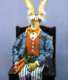 My March Hare Alice in Wonderland Styled Porch greeter Doll now in my e-bay store with a $90.00 starting bid!